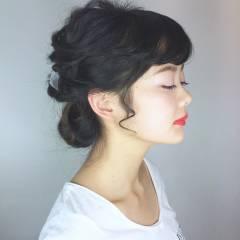 ストリート アップスタイル ミディアム ウェーブ ヘアスタイルや髪型の写真・画像