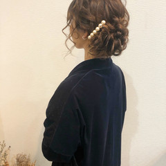 結婚式 フェミニン ヘアセット ヘアアレンジ ヘアスタイルや髪型の写真・画像