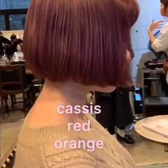ストリート ボブ レッド カシスレッド ヘアスタイルや髪型の写真・画像