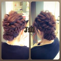 編み込み 波ウェーブ ショート 結婚式 ヘアスタイルや髪型の写真・画像
