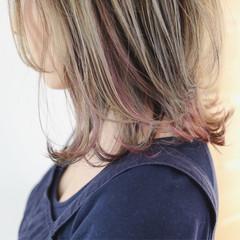 インナーカラー ボブ インナーカラーパープル インナーピンク ヘアスタイルや髪型の写真・画像