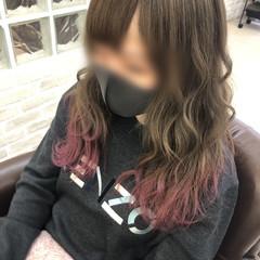 ギャル 裾カラー ピンク ロング ヘアスタイルや髪型の写真・画像