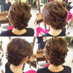 セミロング 簡単ヘアアレンジ 結婚式 パーティ ヘアスタイルや髪型の写真・画像