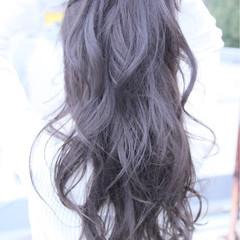 ロング ストリート アッシュ ゆるふわ ヘアスタイルや髪型の写真・画像
