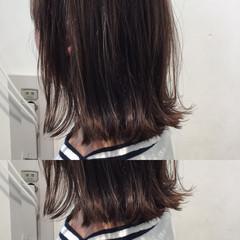 アッシュ ワンレングス かわいい ボブ ヘアスタイルや髪型の写真・画像