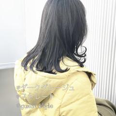 アッシュグレージュ 前髪 グレージュ セミロング ヘアスタイルや髪型の写真・画像