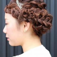 ゆるふわ ヘアアレンジ セミロング パーティ ヘアスタイルや髪型の写真・画像