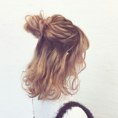 ヘアアレンジ 外国人風 夏 ハーフアップ ヘアスタイルや髪型の写真・画像