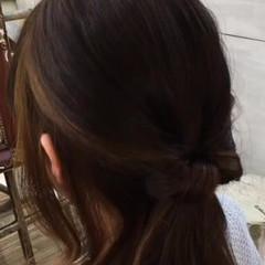 ハーフアップ 簡単ヘアアレンジ 大人かわいい 夏 ヘアスタイルや髪型の写真・画像