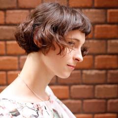 切りっぱなしボブ 外国人風パーマ パーマ ヘアスタイルや髪型の写真・画像
