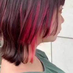 インナーカラー 個性的 ショート ストリート ヘアスタイルや髪型の写真・画像