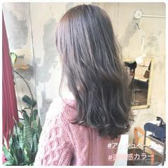 ヘアカラー グレージュ 韓国ヘア オフィス ヘアスタイルや髪型の写真・画像