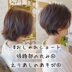 ミニボブ ショート 切りっぱなしボブ ショートヘア ヘアスタイルや髪型の写真・画像
