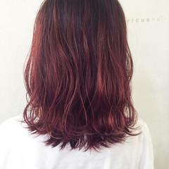 秋 透明感 ピンク ボルドー ヘアスタイルや髪型の写真・画像