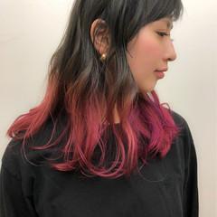 ミディアム ストリート ブルージュ グラデーションカラー ヘアスタイルや髪型の写真・画像