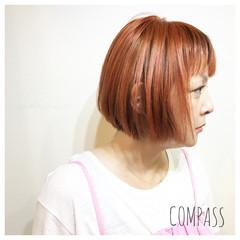 オレンジ ウェーブ イエロー アンニュイ ヘアスタイルや髪型の写真・画像