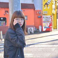 ミディアム 外ハネ ストリート ストレート ヘアスタイルや髪型の写真・画像