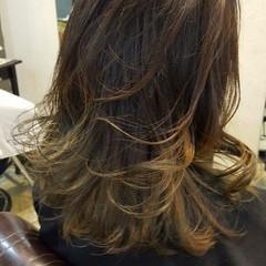 グラデーションカラー ミディアム イルミナカラー 上品 ヘアスタイルや髪型の写真・画像