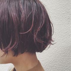 外国人風 グラデーションカラー ボブ レッド ヘアスタイルや髪型の写真・画像