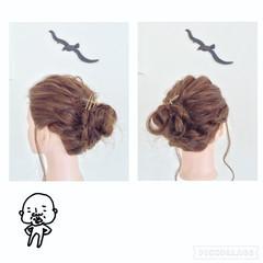 ヘアアレンジ 三つ編み セミロング ヘアアクセ ヘアスタイルや髪型の写真・画像