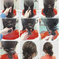 ショート お団子 簡単ヘアアレンジ ラフ ヘアスタイルや髪型の写真・画像