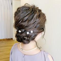 結婚式ヘアアレンジ ミディアム 結婚式アレンジ 結婚式 ヘアスタイルや髪型の写真・画像
