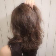 ナチュラル レイヤーカット アッシュ セミロング ヘアスタイルや髪型の写真・画像