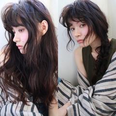 暗髪 ロング パーマ 外国人風 ヘアスタイルや髪型の写真・画像