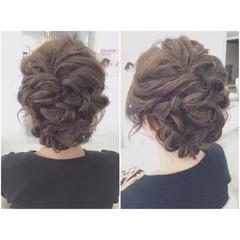 ゆるふわ ヘアアレンジ 結婚式 セミロング ヘアスタイルや髪型の写真・画像