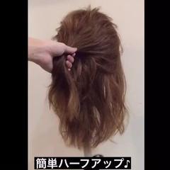大人かわいい 簡単ヘアアレンジ セミロング ヘアアレンジ ヘアスタイルや髪型の写真・画像