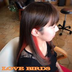 モード ロング インナーカラー インナーカラーレッド ヘアスタイルや髪型の写真・画像