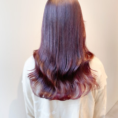 ヨシンモリ ラベンダーピンク セミロング ナチュラル ヘアスタイルや髪型の写真・画像