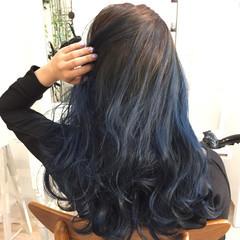 渋谷系 セミロング アッシュ ハイライト ヘアスタイルや髪型の写真・画像