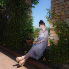 春 ミディアム お団子 ガーリー ヘアスタイルや髪型の写真・画像