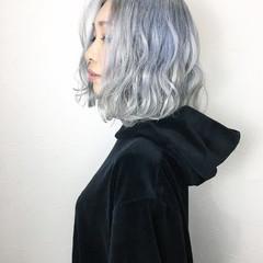 モード ホワイトアッシュ ボブ 外国人風カラー ヘアスタイルや髪型の写真・画像