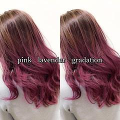 セミロング ラベンダーピンク ピンクラベンダー ストリート ヘアスタイルや髪型の写真・画像