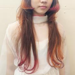 ロング アンニュイ マッシュ オレンジ ヘアスタイルや髪型の写真・画像
