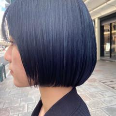 グレージュ ナチュラル ブルーアッシュ ショートボブ ヘアスタイルや髪型の写真・画像