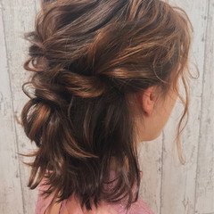 謝恩会 ガーリー ヘアアレンジ ボブ ヘアスタイルや髪型の写真・画像