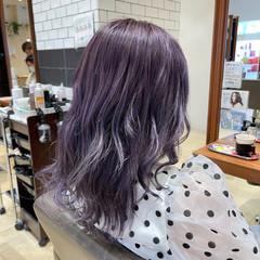 韓国 ミディアム ハイトーン ラベンダー ヘアスタイルや髪型の写真・画像