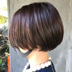 ハイライト ショートボブ 髪質改善トリートメント 髪質改善 ヘアスタイルや髪型の写真・画像