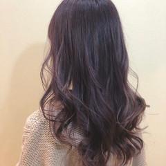 パープルカラー ブルーバイオレット ロング ブルーラベンダー ヘアスタイルや髪型の写真・画像