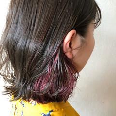 インナーカラー インナーカラーバイオレット ガーリー ピンクバイオレット ヘアスタイルや髪型の写真・画像
