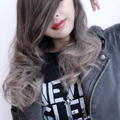 透明感 ストリート セミロング アッシュ ヘアスタイルや髪型の写真・画像