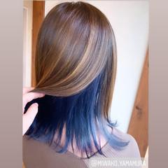 モード インナーブルー ミディアム ストレート ヘアスタイルや髪型の写真・画像