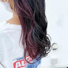 グレージュ ラベンダーピンク セミロング ピンクアッシュ ヘアスタイルや髪型の写真・画像