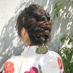 和装 波ウェーブ 涼しげ 後れ毛 ヘアスタイルや髪型の写真・画像