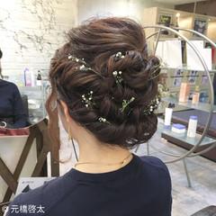 大人女子 編み込み ミディアム ヘアアレンジ ヘアスタイルや髪型の写真・画像