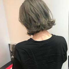 ボブ グレー アッシュグレー コンサバ ヘアスタイルや髪型の写真・画像