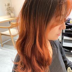 デジタルパーマ オレンジカラー オレンジ ナチュラル ヘアスタイルや髪型の写真・画像